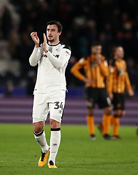 Derby County's George Thorne applauds the fans at the end of the match