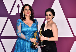 Melissa Berton and Rayka Zehtabchi with the award for best Documentary (Short Subject) for Period. End Of Sentence in the press room at the 91st Academy Awards held at the Dolby Theatre in Hollywood, Los Angeles, USA.