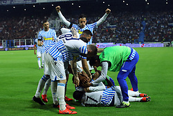 """Foto LaPresse/Filippo Rubin<br /> 26/05/2019 Ferrara (Italia)<br /> Sport Spal - Milan - Campionato di calcio Serie A 2018/2019 - Stadio """"Paolo Mazza""""<br /> Nella foto: ESULTANZA GOAL SPAL MOHAMED FARES (SPAL)<br /> <br /> Photo LaPresse/Filippo Rubin<br /> May 26, 2019 Ferrara (Italy)<br /> Sport Soccer<br /> Spal vs Milan - Italian Football Championship League A 2018/2019 - """"Paolo Mazza"""" Stadium <br /> In the pic: CELEBRATION GOAL SPAL MOHAMED FARES (SPAL)"""