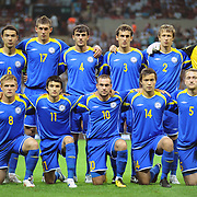 Kazakhstan's players (Left to Right) (Front Row) Heinrich SCHMIDTGAL, Oulan KONYSBAYEV, Marat KHAIRULLIN, Marat SHAKHMETOV, Mark GURMAN (Back Row) (Left to Right) Kairat NURDAULETOV, Sergei GRIDIN, Mukhtar MUKHTAROV, Yuri LOGVINENKO, Aleksandr KIROV, goalkeeper Aleksandr MOKIN during their UEFA EURO 2012 Qualifying round Group A soccer match Turkey betwen Kazakhstan at TT Arena Istanbul September 02, 2011. Photo by TURKPIX