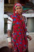 Elderly Indian woman at home in Narlai village in Rajasthan, Northern India