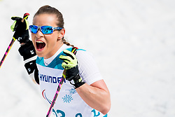 March 17, 2018 - Pyeongchang, SOUTH KOREA - 180317 Oksana Masters of USA celebrates winning the women's 5 km sitting cross-country skiing during day eight of the 2018 Winter Paralympics on March 17, 2018 in Pyeongchang..Photo: Vegard Wivestad GrÂ¿tt / BILDBYRN / kod VG / 170134 (Credit Image: © Vegard Wivestad Gr¯Tt/Bildbyran via ZUMA Press)