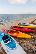 Kayaks along the beach at Sea Pines on Hilton Head Island, SC