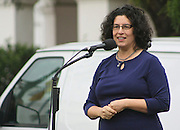 """19 January 2015-Santa Barbara, CA: Santa Barbara Mayor, Helene Schneider.  Santa Barbara Honors Dr. Martin Luther King Jr. with a Day of Celebration.  The Santa Barbara MLK, Jr. Committee chose """"Drum Majors for Justice"""" as it's theme for the day which included a Pre-March Program in De la Guerra Plaza followed by a march up State Street to the Arlington Theater for speakers, music and poetry.  The program concluded with a Community Lunch at the First United Methodist Church in Santa Barbara.  Photo by Rod Rolle"""