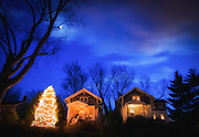 Moon and Christmas lights in Historic Oella, Maryland.