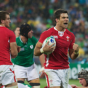 Mike Phillips, Wales, motivates his team during the Ireland V Wales Quarter Final match at the IRB Rugby World Cup tournament. Wellington Regional Stadium, Wellington, New Zealand, 8th October 2011. Photo Tim Clayton...