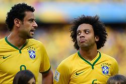 Fred e Marcelo na partida entre Brasil x Colombia, válida pelas quartas de final da Copa do Mundo 2014, no Estádio Castelão, em Fortaleza-CE. FOTO: Jefferson Bernardes/ Agência Preview