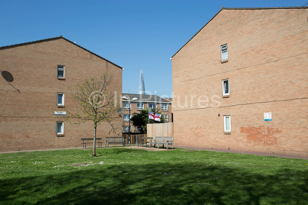 A low rise brick housing estate along Rodney Road in Walworth on 23rd April 2015 in South London, United Kingdom