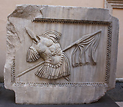 Architectural relief detail from the entrance/courtyard to the Capitolini museums, in Rome, Italy. The museums themselves are contained within 3 palazzi as per designs by Michelangelo Buonarroti in 1536, they were then built over a 400 year period.