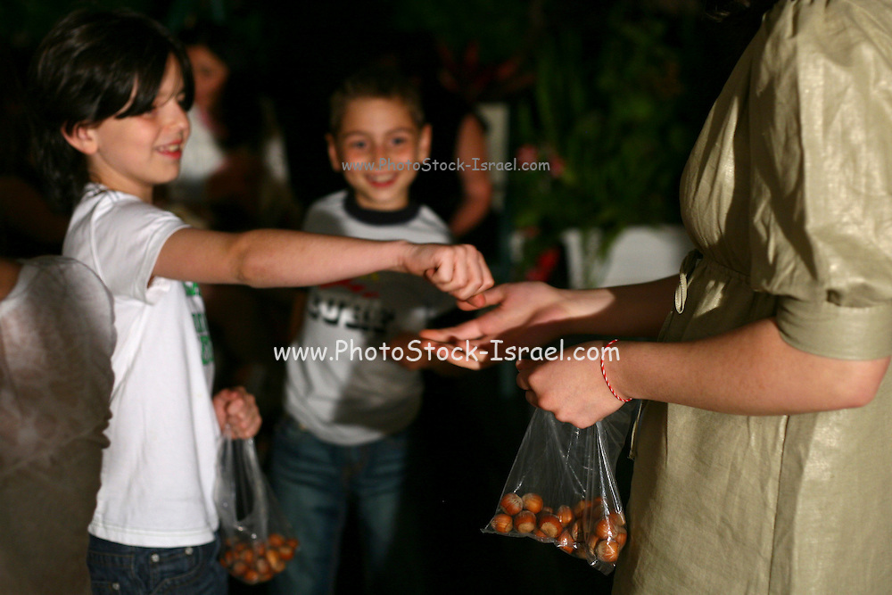 "An israeli family attending a ""Seder"",  the traditional passover dinner,  and reading the ""Hagada"" (the story of israeli's exodus from Egypt)  during the evening. Children are playing ""Odd or Even"" (""zug or peret"") with hazelnuts, a passover traditonal game."