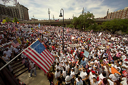 Stock photo of thousands of protesters gathering at Allen's Landing in downtown Houston to advocate the rights for immigrants.