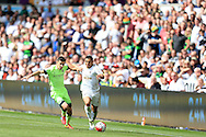 Jefferson Montero of Swansea city ®  is challenged by Jesus Navas  of Manchester city .Barclays Premier league match, Swansea city v Manchester city at the Liberty Stadium in Swansea, South Wales on Sunday 15th May 2016.<br /> pic by Andrew Orchard, Andrew Orchard sports photography.