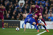 Ilkay Gundogan of Manchester city is fouled by Joe Ralls of Cardiff city and a free-kick is awarded for Kevin De Bruyne to score their 1st goal. The Emirates FA Cup, 4th round match, Cardiff city v Manchester City at the Cardiff City Stadium in Cardiff, South Wales on Saturday 28th January 2018.<br /> pic by Andrew Orchard, Andrew Orchard sports photography.