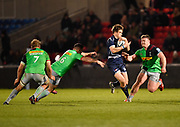 Sale Sharks fly-half AJ MacGinty breaks through the Harlequins defence during a Gallagher Premiership match won by Sale Sharks 27-17 at the AJ Bell Stadium, Eccles, Greater Manchester, United Kingdom, Friday, April 5, 2019. (Steve Flynn/Image of Sport)