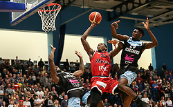 Fred Thomas of Bristol Flyers goes for another basket under pressure - Photo mandatory by-line: Arron Gent/JMP - 28/04/2019 - BASKETBALL - Surrey Sports Park - Guildford, England - Surrey Scorchers v Bristol Flyers - British Basketball League Championship