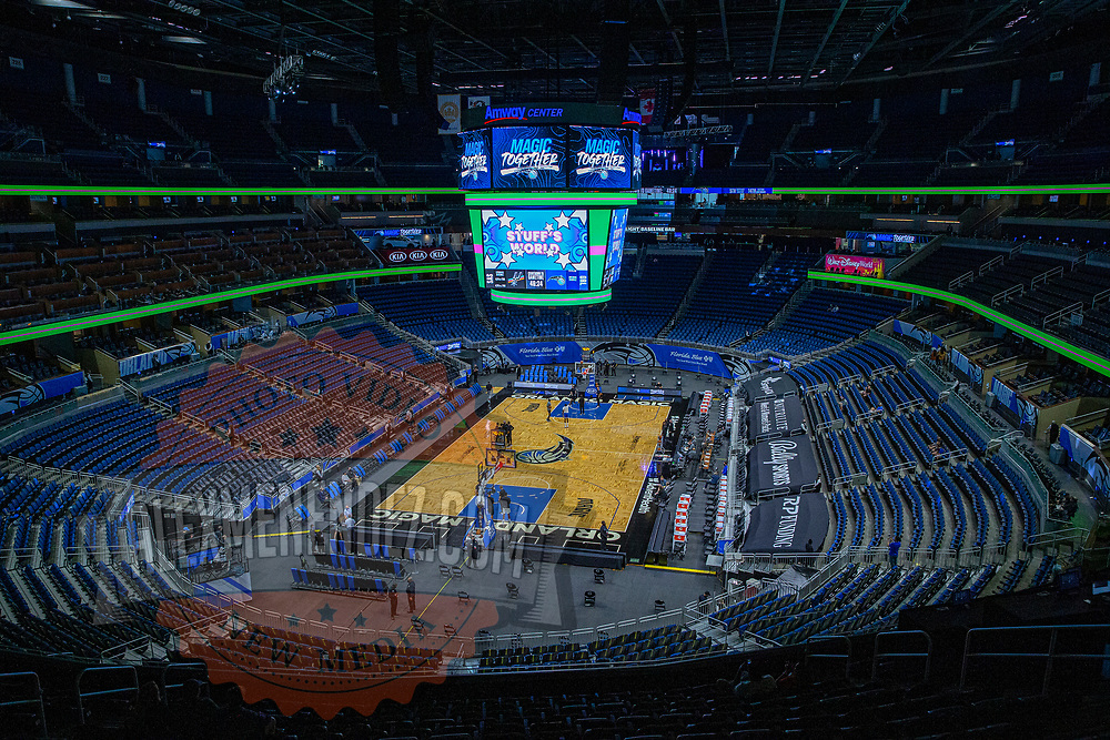 ORLANDO, FL - APRIL 12: The San Antonio Spurs warm up prior to a game against the Orlando Magic at Amway Center on April 12, 2021 in Orlando, Florida. NOTE TO USER: User expressly acknowledges and agrees that, by downloading and or using this photograph, User is consenting to the terms and conditions of the Getty Images License Agreement. (Photo by Alex Menendez/Getty Images)*** Local Caption ***