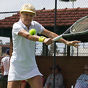 Kerry Ballard, Australia, in action against Nicole Hesse-Cazaux, France in the final of the Alice Marble Cup match during the 2009 ITF Super-Seniors World Team and Individual Championships at Perth, Western Australia, between 2-15th November, 2009.