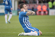 Nathan Thomas (Hartlepool United) reacts to missing a chance to get Hartlepool United's second goal in the closing stages of the game during the EFL Sky Bet League 2 match between Hartlepool United and Carlisle United at Victoria Park, Hartlepool, England on 14 April 2017. Photo by Mark P Doherty.