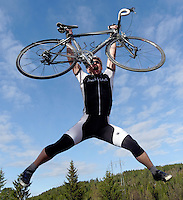 Man jumping with bike