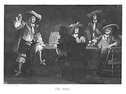 Sir Paul Parravicin (left) gambling with Captain Disbrowe for his wife. Disbrowe lost. Illustration by John Franklin (active 1800-1861) for William Harrison Ainsworth 'Old Saint Paul's', London 1855 (first published 1841). Engraving.