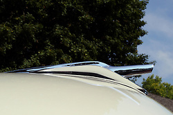 04 August 2012:  Hood ornament or mascot on a1956 Ford Fairlane 2 door hard top displayed at the McLean County Antique Automobile Club Show at the David Davis Mansion, Bloomington IL
