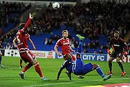 Cardiff city 's Kagisho Dikgacoi stretches to keep the ball in play. Skybet football league championship match, Cardiff city v Middlesbrough at the Cardiff city Stadium in Cardiff, South Wales  on Tuesday 20th October 2015.<br /> pic by  Andrew Orchard, Andrew Orchard sports photography.