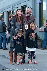 Dean Bordigioni after a long day riding his 1914 Class 1 Harley-Davidson with his wife Abi and children on the Motorcycle Cannonball coast to coast vintage run. Stage 14 (303 miles) from Spokane, WA to The Dalles, OR. Saturday September 22, 2018. Photography ©2018 Michael Lichter.
