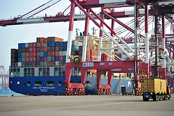 June 7, 2017 - Qingdao, Qingdao, China - Qingdao, CHINA-June 7 2017: (EDITORIAL USE ONLY. CHINA OUT) A container ship docks at the port of Qingdao, east China's Shandong Province, June 7th, 2017. (Credit Image: © SIPA Asia via ZUMA Wire)