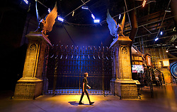 © Licensed to London News Pictures 27/02/2011 London, UK. .The Hogwarts Castle gates  inside The Warner Brothers Studio Tour, Leavesden, Herts where all 8 Harry Potter movies were made and opens to the public this week..Photo credit : Simon Jacobs/LNP