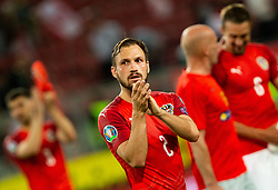 Andreas Ulmer of Austria waves to his supporters after the 2020 UEFA European Championships group G qualifying match between Austria and Slovenia at Wörthersee Stadion on June 7, 2019 in Klagenfurt, Austria. Photo by Vid Ponikvar / Sportida