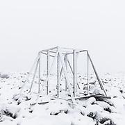 2.32pm  Instrument frame, Ben Nevis meteorological observatory ruins, Highland, Scotland.