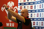 Shaun Edwards, the Wales rugby defence coach appears to be ready for the fight as Wales prepare for Italy and the big game against England the week after. Wales Rugby team press conference at the Vale Resort, Hensol near Cardiff, South Wales on Monday 30th January 2017. The team are preparing for start of this years RBS Six Nations championship which starts this weekend. pic by  Andrew Orchard, Andrew Orchard sports photography.