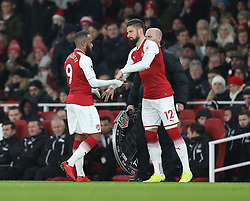 16 December 2017 London : Premier League Football : Arsenal v Newcastle United : Alexandre Lacazette of Arsenal is replaced by Olivier Giroud.<br /> (photo by Mark Leech)