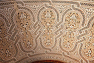 Berber Mocarabe Honeycomb work plaster decorations in the Riad of the Kasbah of Telouet, Atlas Mountains, Morocco .<br /> <br /> Visit our MOROCCO HISTORIC PLAXES PHOTO COLLECTIONS for more   photos  to download or buy as prints https://funkystock.photoshelter.com/gallery-collection/Morocco-Pictures-Photos-and-Images/C0000ds6t1_cvhPo<br /> .<br /> <br /> Visit our ISLAMIC HISTORICAL PLACES PHOTO COLLECTIONS for more photos to download or buy as wall art prints https://funkystock.photoshelter.com/gallery-collection/Islam-Islamic-Historic-Places-Architecture-Pictures-Images-of/C0000n7SGOHt9XWI