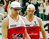 Volleyball, Sandvolleyball, World Tour Stavanger, Grand Slam, 02/07-05, <br />Bård Inge Pettersen og Ivar Horrem, <br />Foto: Halvard Hofsmo, Digitalsport