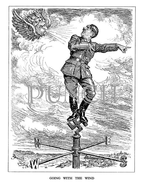 Going with the Wind. (the RAF wind blows the Hitler weathervane back South in the direction he came from)