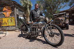 Ryan Allen of New Mexico with his 1916 Indian at the Hackberry General Store on historic Route 66 in Kingman, Arizona during the Motorcycle Cannonball Race of the Century. Stage-13 ride from Williams, AZ to Lake Havasu CIty, AZ. USA. Friday September 23, 2016. Photography ©2016 Michael Lichter.