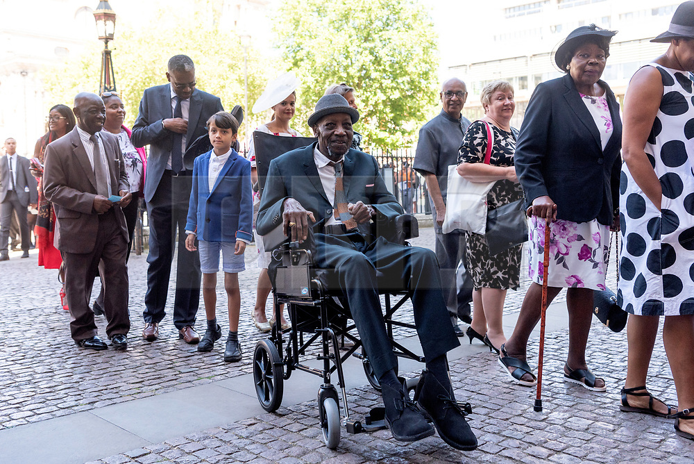© Licensed to London News Pictures. 22/06/2018. London, UK. Mr Winston White, a World War II veteran from the Windrush generation attends a service of Thanksgiving at Westminster Abbey to mark the 70th Anniversary of the Landing of the Windrush. The MV Windrush ship docked at Tilbury in the Port of London on 22nd June 1948 and  was carrying 492 passengers from the port of Kingston in Jamaica. Photo credit: Ray Tang/LNP