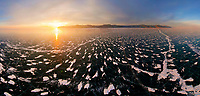 Aerial view above of frozen lake Baikal, Russia