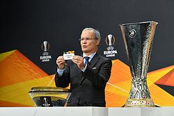 NYON, SWITZERLAND - Monday, December 14, 2020: UEFA Deputy General Secretary Giorgio Marchetti draws out FC Salzburg during the UEFA Europa League 2020/21 Round of 32 draw at the UEFA Headquarters, the House of European Football. (Photo Handout/UEFA)