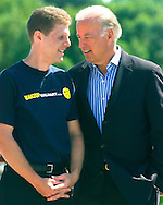 8/16/06 Des Moines. IA Sen. Joseph Biden speaks with Paul Blank, campaign director for WakeUpWalMart.com at an anti Wal Mart event in Des Moines Wednesday afternoon.(Chris Machian/Prairie Pixel Group)