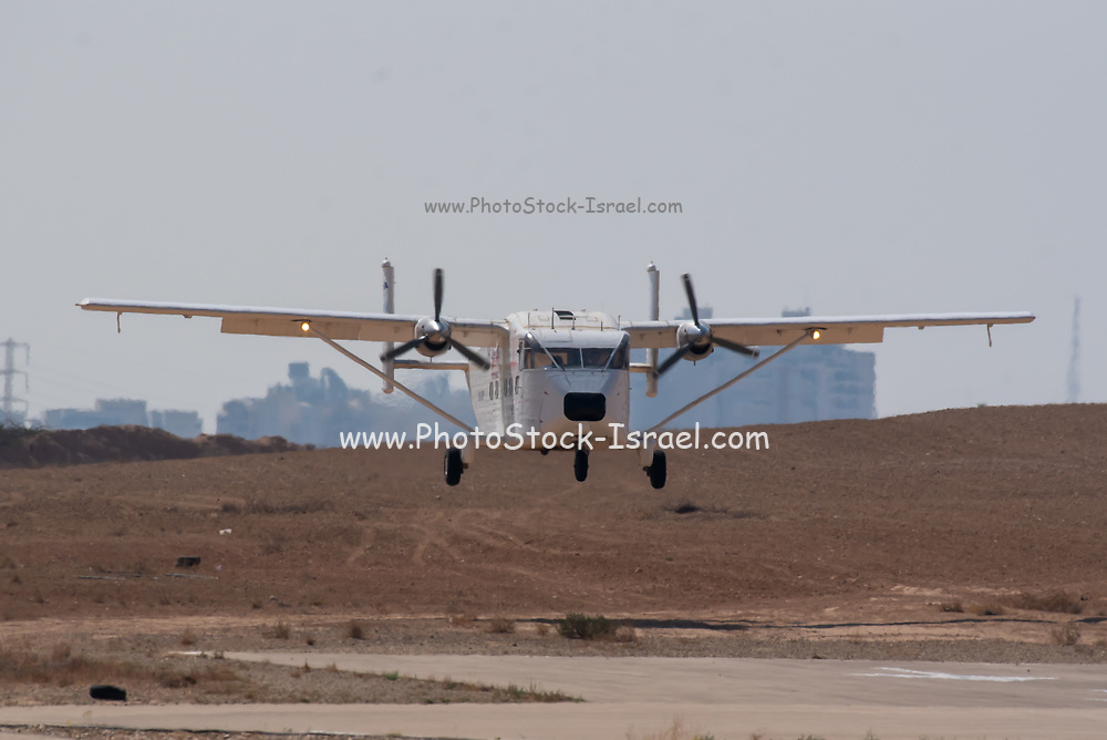 Short SC-7 Skyvan 3-100 aeroplane at takeoff with a group of jumpers onboard. Photographed at a Skydive centre in Israel