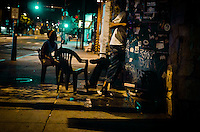 Out front of The Fire, a neighborhood bar that host open mic nights and bands in Philadelphia, PA.