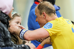 Senijad Ibricic of Domzale with his daughter after the football match between NK Domzale and NK Olimpija in 32nd Round of Prva liga Telekom Slovenije 2020/21, on May 5, 2021 in Sports park Domzale, Slovenia. Photo by Vid Ponikvar / Sportida