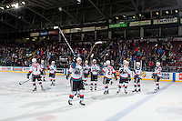 KELOWNA, CANADA - FEBRUARY 13: The Kelowna Rockets salute fans on the win against the Seattle Thunderbirds on February 13, 2017 at Prospera Place in Kelowna, British Columbia, Canada.  (Photo by Marissa Baecker/Shoot the Breeze)  *** Local Caption ***