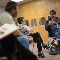 021315       Cable Hoover<br /> <br /> Jeremy Yazzie offers some opinions during a discussion on homelessness Friday at the Octavia Fellin Public Library in Gallup.