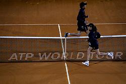 May 4, 2018 - Lisbon, Portugal - Assitants run by the net during the Millennium Estoril Open tennis tournament in Estoril, outskirts of Lisbon, Portugal on May 4, 2018  (Credit Image: © Carlos Costa/NurPhoto via ZUMA Press)