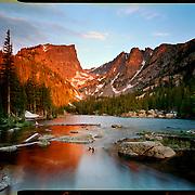Sunrise at Dream Lake, Rocky Mountain National Park. 4x5 Kodak Ektar 100. photo by Nathan Lambrecht