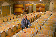 Christian Mocci Domaine de Mas de Martin, St Bauzille de Montmel. Gres de Montpellier. Languedoc. Barrel cellar. Owner winemaker. France. Europe.