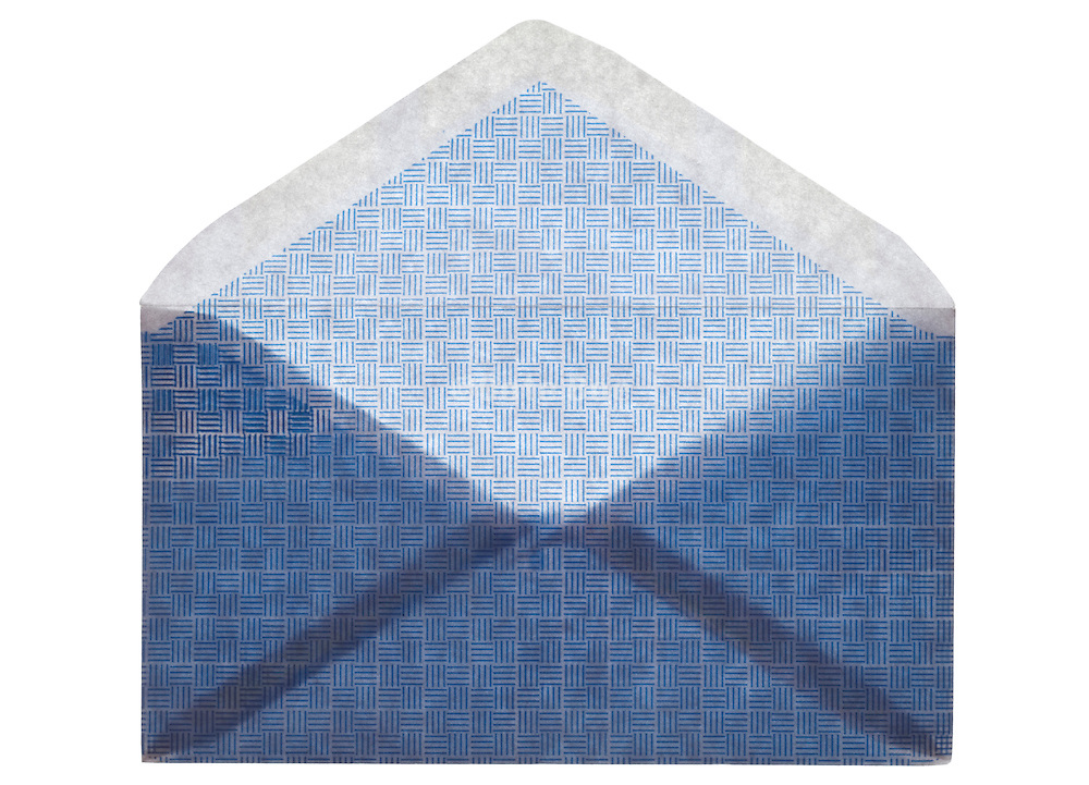 open blue colored security envelope